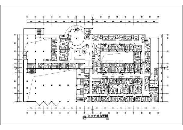 大酒店內部整層ktv室內裝修布置cad設計平面施工圖