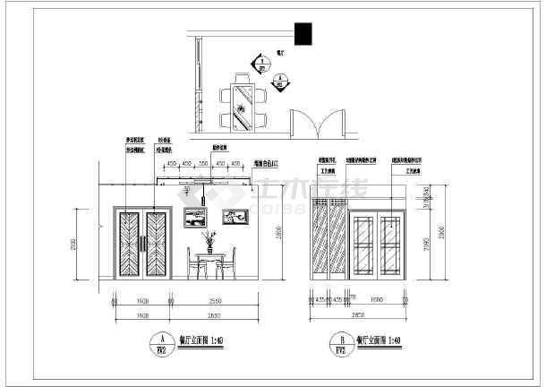 小二居家装设计cad方案施工图纸-图3