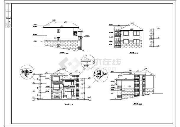 某地二层山体全套别墅排名别墅施工图方案合肥建筑图片