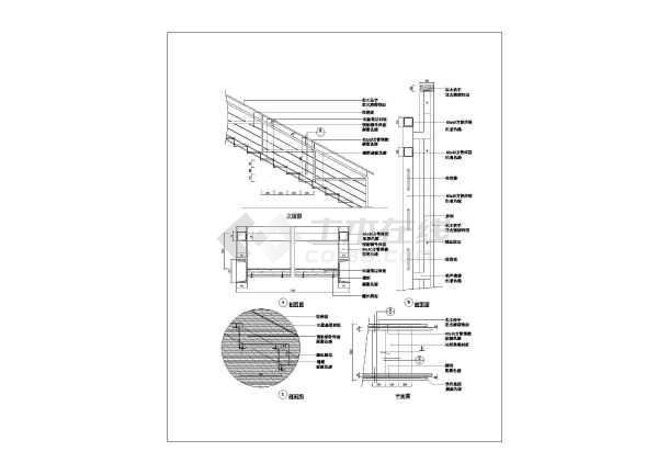 某楼梯造型建筑大样施工cad图纸-图1