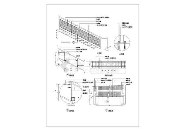 某楼梯造型建筑大样施工cad图纸-图2