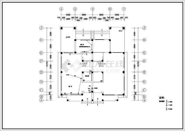 小两室住宅户型室内装修CAD平面施工图纸-图2