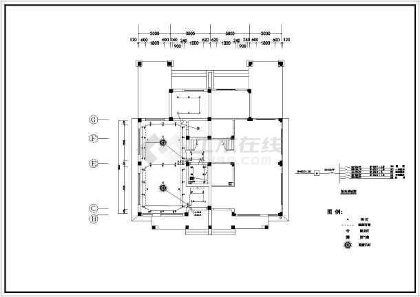 小两室住宅户型室内装修CAD平面施工图纸-图3