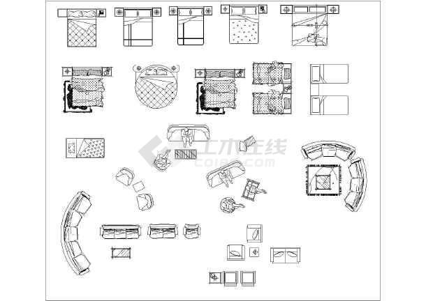 弧形沙发cad平面图库经典平面图