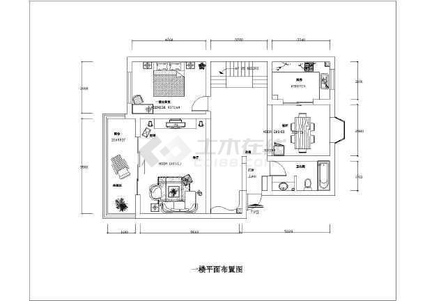 大两居家居装饰室内装修布置cad施工图-图1