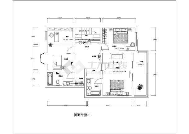 大两居家居装饰室内装修布置cad施工图-图3