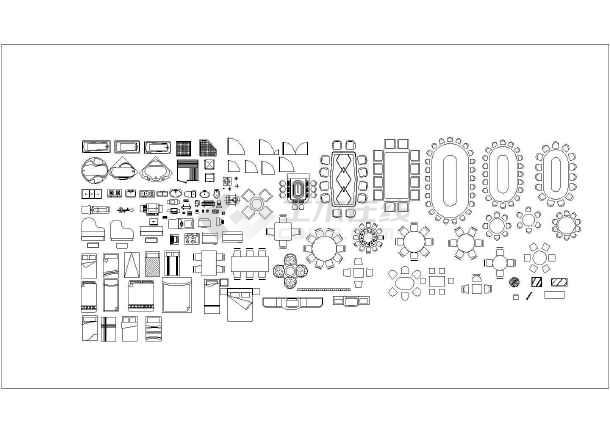 完整的cad家具平面素材图块的展示