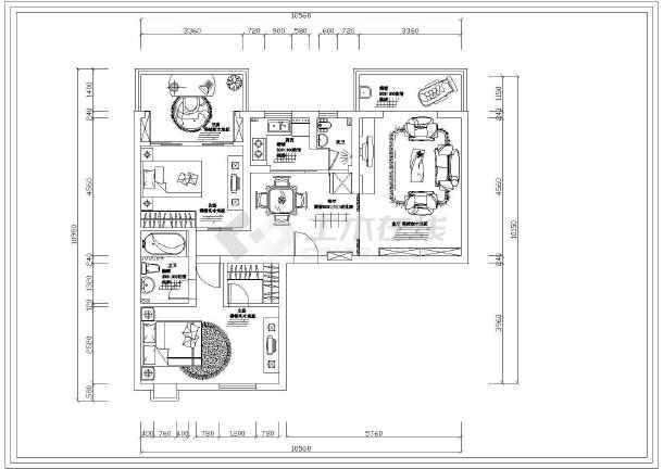 小两居室内精装修设计cad施工设计图纸-图1