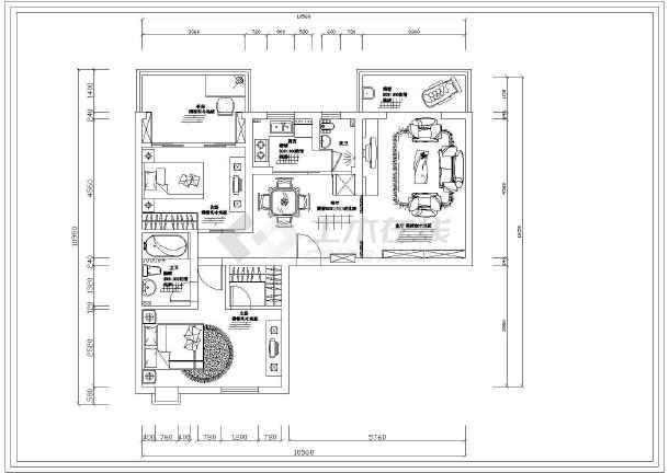 小两居室内精装修设计cad施工设计图纸-图2