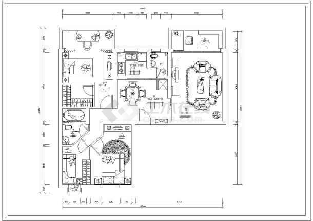 小两居室内精装修设计cad施工设计图纸-图3