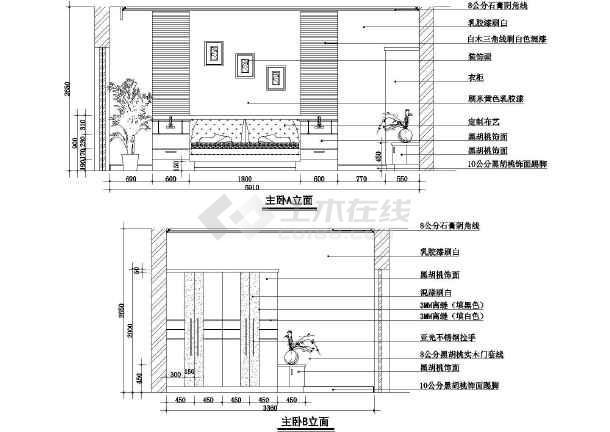 两居住宅室内的装修的完整cad平立面施工图-图1