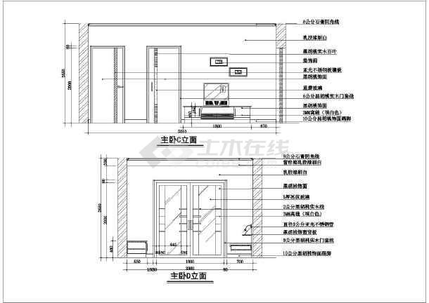 两居住宅室内的装修的完整cad平立面施工图-图2