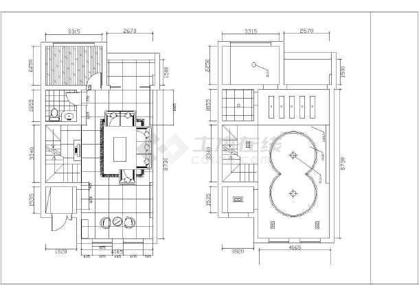 小二层别墅室内装修设计完整的cad施工图纸