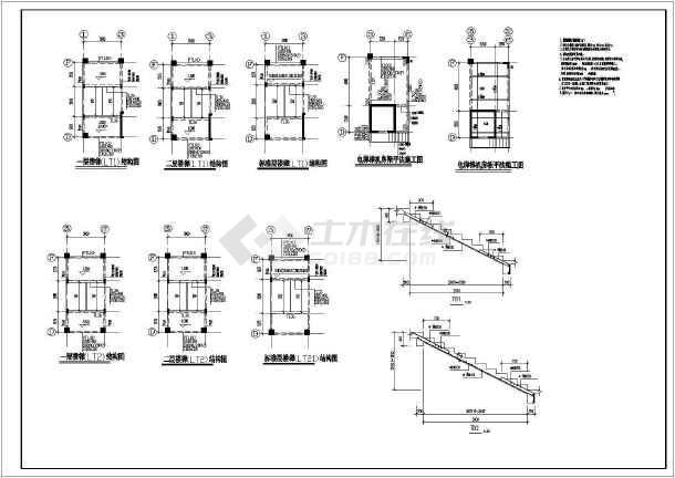 某字体倒班宿舍楼cad工厂竣工设计施工图纸cad基本结构高度图纸图片