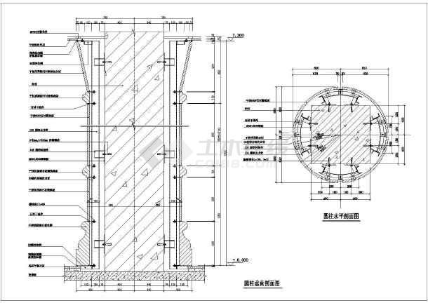 干挂圆柱方柱变石材cad图纸平面v圆柱节点乐高建筑图纸图片