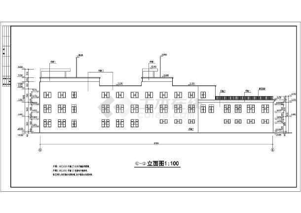 某地三层框架结构商业会所建筑cad施工图-图1