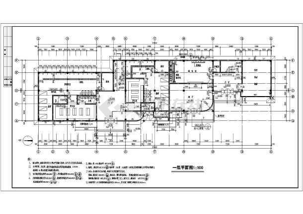某地三层框架结构商业会所建筑cad施工图-图3