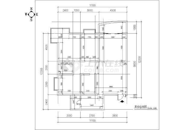 两居室户型室内家装设计cad平面施工图-图1
