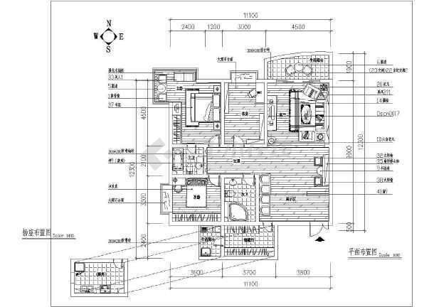 两居室户型室内家装设计cad平面施工图-图2