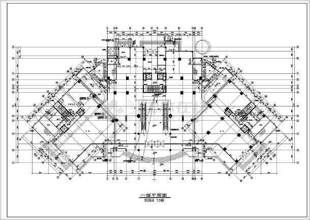 某地区大型海丰广场建筑平面图(共6张)-图1