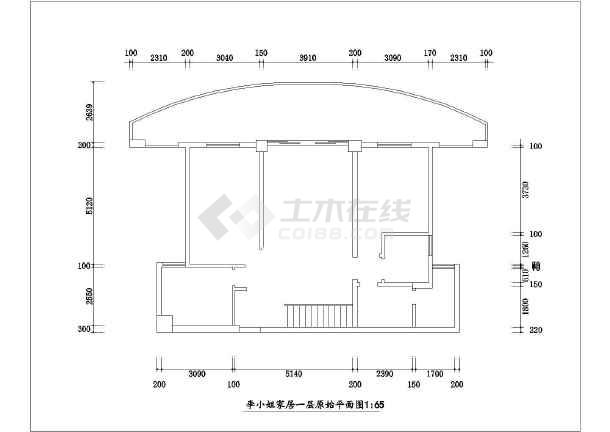 某住宅室内家装cad施工设计图纸-图3