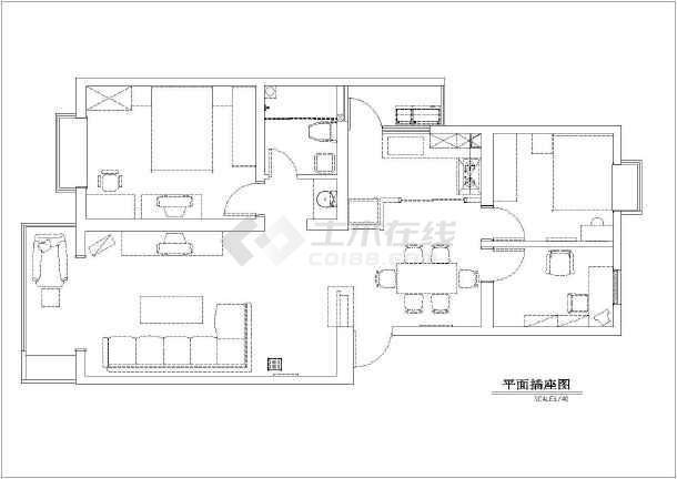 两居室家居室内装饰cad施工设计图-图1