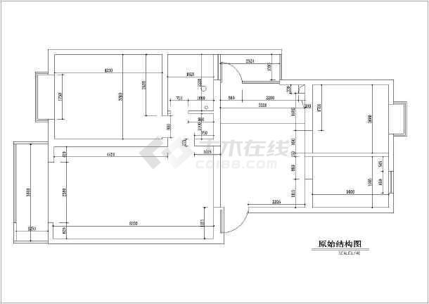 两居室家居室内装饰cad施工设计图-图3