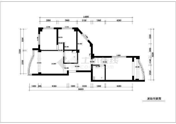 70平米小两居家装设计的完整cad平面施工图纸-图1