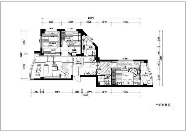 70平米小两居家装设计的完整cad平面施工图纸-图2