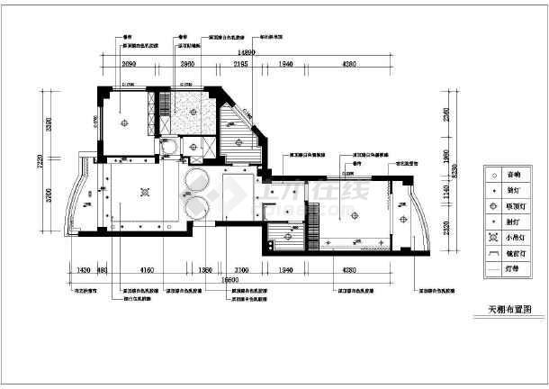70平米小两居家装设计的完整cad平面施工图纸-图3