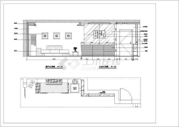 图纸室内装修cad立面施工图家庭客厅量与实际图纸量图片