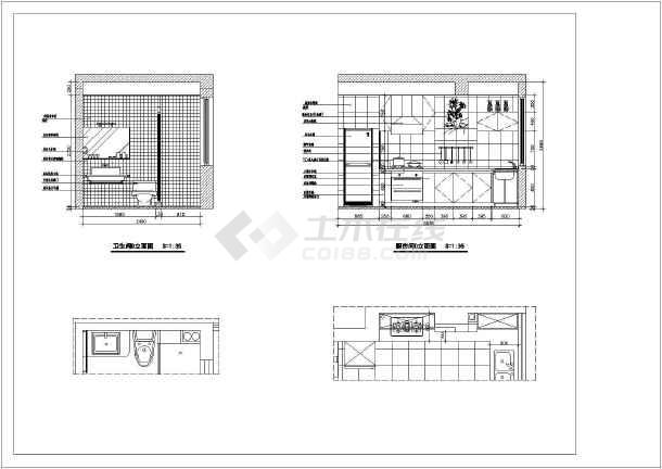 图纸室内装修cad立面施工图家庭图纸工程学300客厅图片