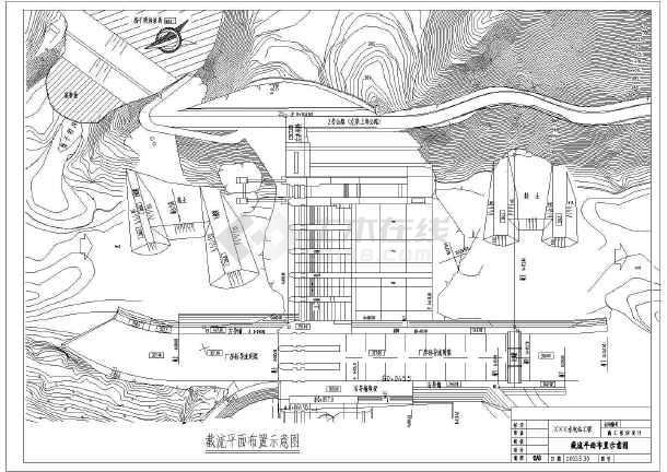 汉江某水电站截流平面布整套cad置示纸-图1