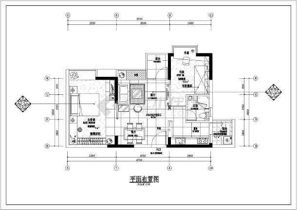 小两居住宅室内装修cad平面施工图-图1