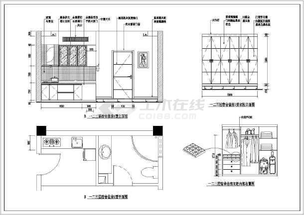 某高管宿舍室内装修CAD施工设计图-图3