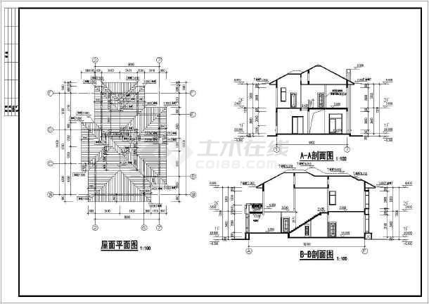 欧式别墅建筑结构施工图(共3张)-图2