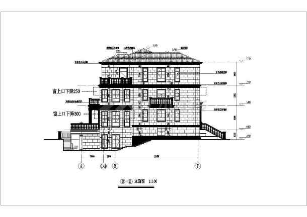 某现代风格多层建筑全套cad施工图-图3