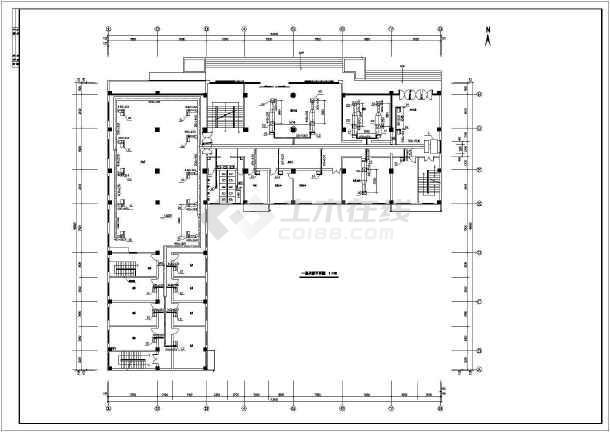 某招待所综合楼空调系统cad设计平面施工图纸-图1