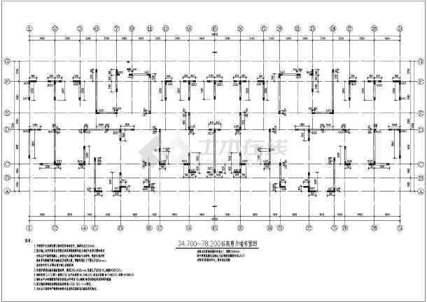 抗震二级高层剪力墙的完整的cad结构图纸-图3