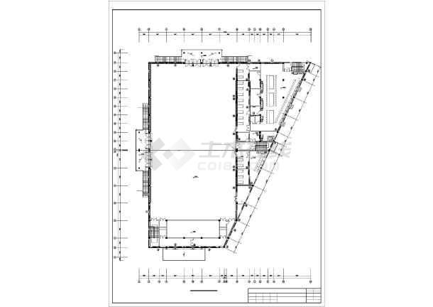 某员工食堂采暖施工设计cad平面施工方案图-图1