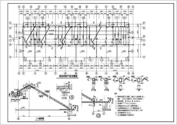 某坡屋顶住宅楼全套cad结构设计施工图-图2