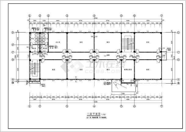 某地区五层框架结构教学楼建筑结构施工图-图2