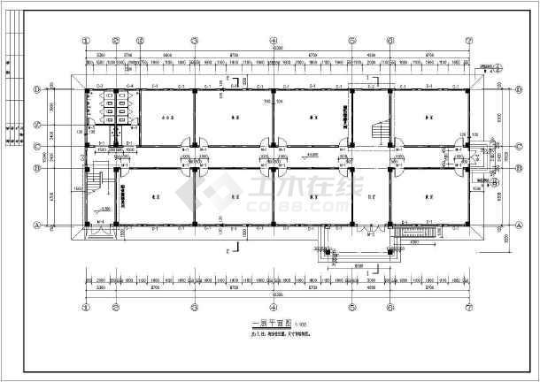 某地区五层框架结构教学楼建筑结构施工图-图3