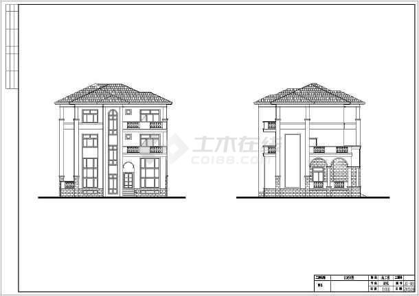 某三层欧式独栋别墅建筑施工cad图(可当小型办公楼)