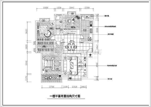 两层完整别墅室内家装cad设计平面施工大样图-图2