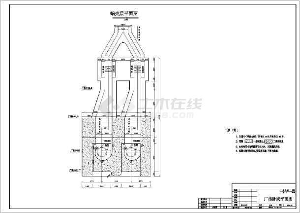 水利电站厂房详细cad建筑施工图纸-图2