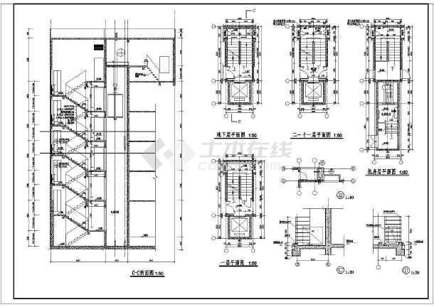某住宅楼详细的楼梯大样和门窗cad大样施工设计图-图2