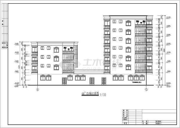 某地区某花园洋房住宅楼cad施工方案图-图2