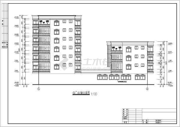某地区某花园洋房住宅楼cad施工方案图-图3