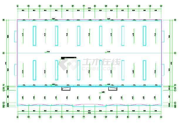 某钢结构建筑物流中心cad施工设计图纸-图2